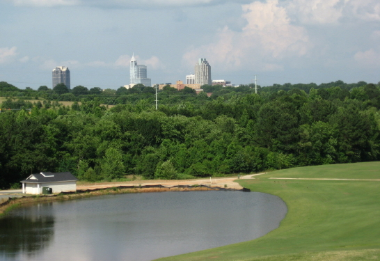 Raleigh skyline from Poole Golf Course