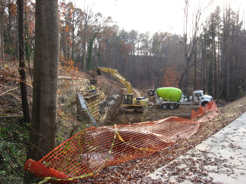 House Creek Trail construction above Lake Boone