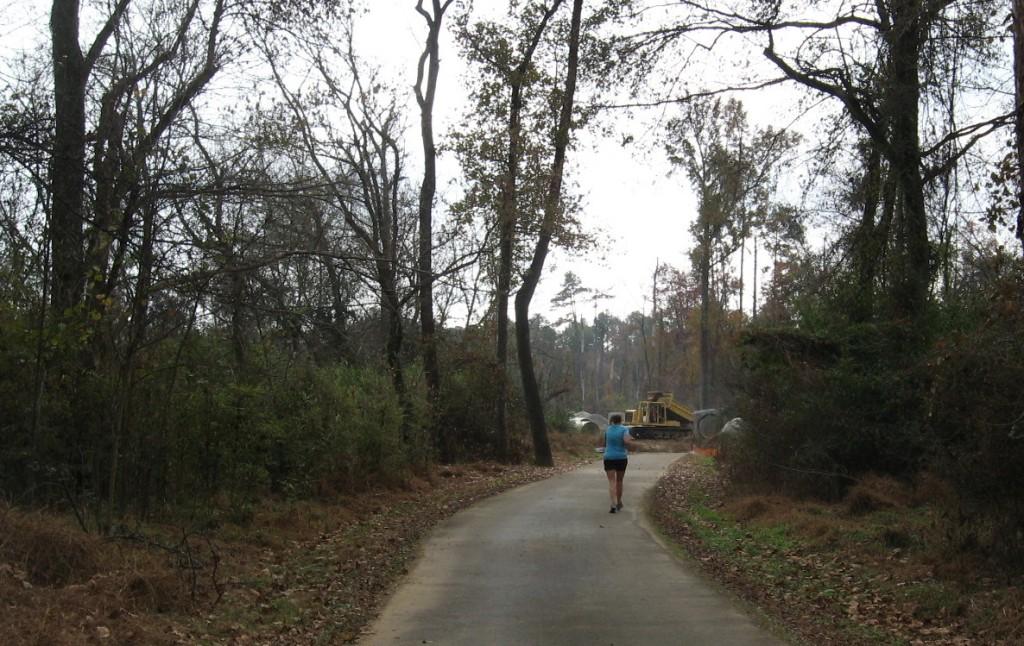 Buckeye jogger approaches bulldozer